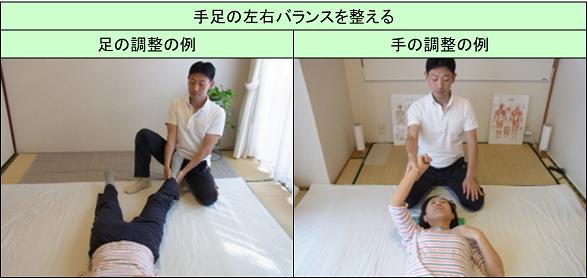手足の調整で体のゆがみを直す